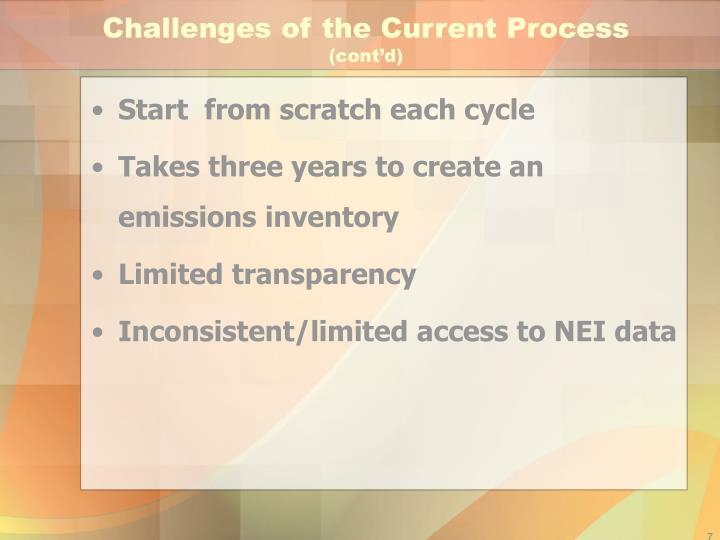 Challenges of the Current Process