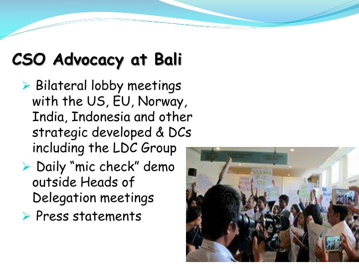 CSO Advocacy at Bali