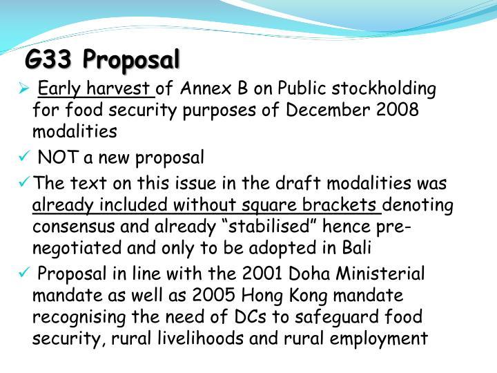 G33 Proposal