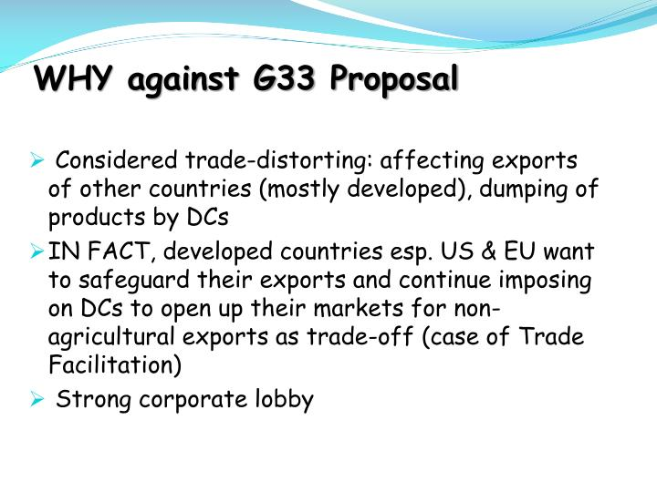 WHY against G33 Proposal