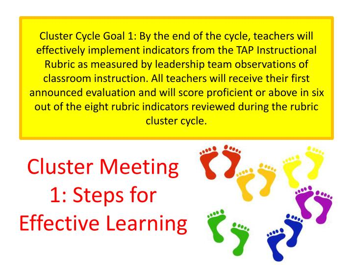 Cluster meeting 1 steps for effective learning