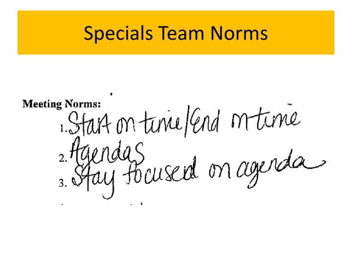 Specials Team Norms