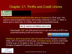 chapter 17 thrifts and credit unions1