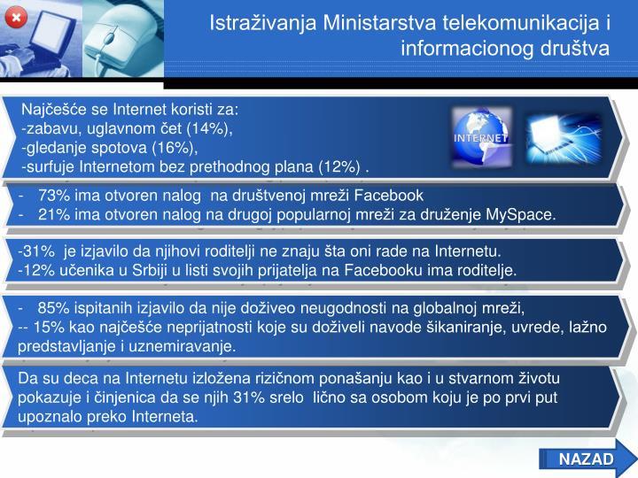 Istraživanja Ministarstva telekomunikacija i informacionog društva