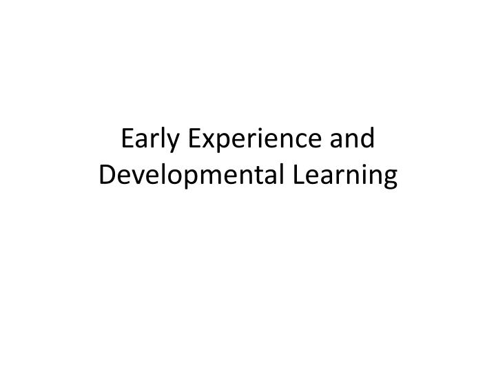 early experience and developmental learning n.