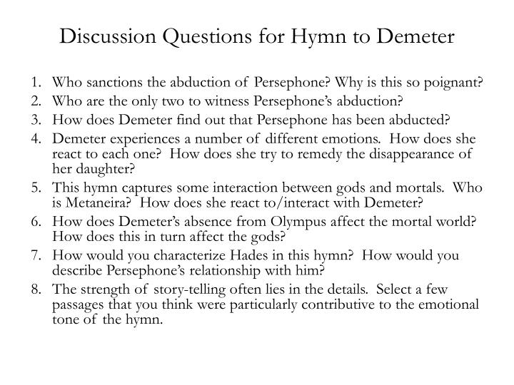 discussion questions for hymn to demeter n.