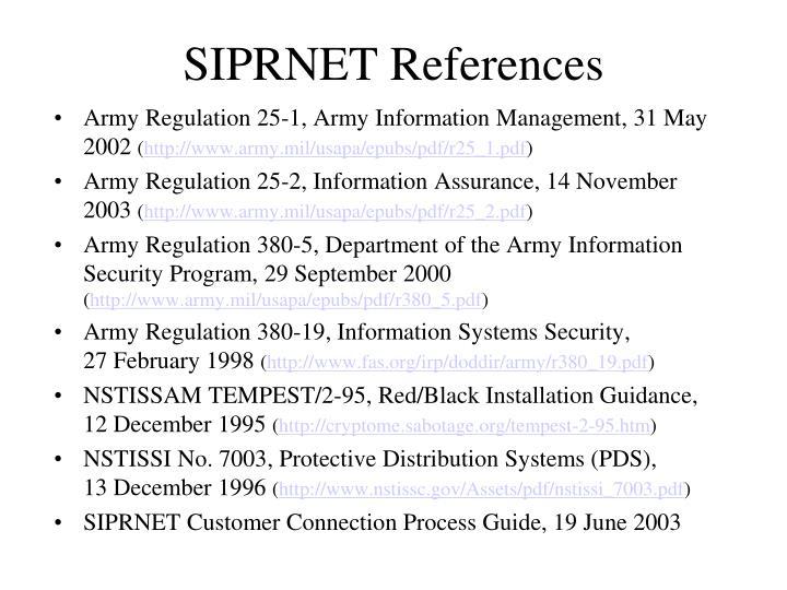 SIPRNET References