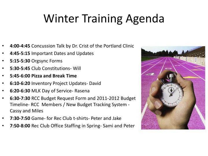 Winter training agenda