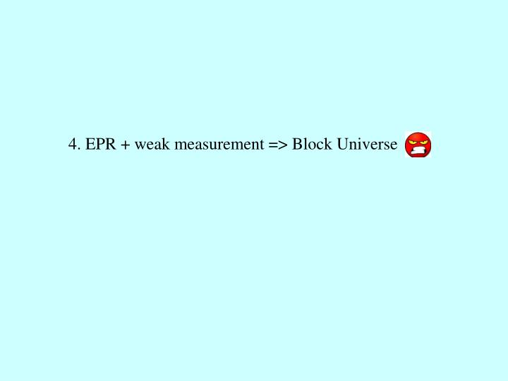 4. EPR + weak measurement => Block Universe