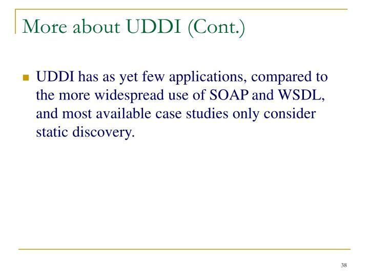 More about UDDI (Cont.)