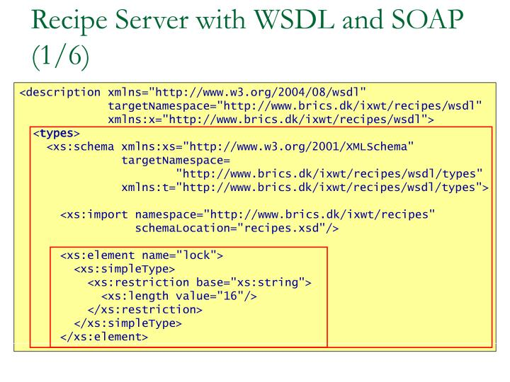 Recipe Server with WSDL and SOAP (1/6)