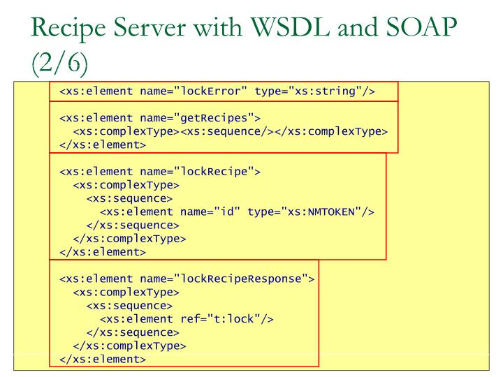 Recipe Server with WSDL and SOAP (2/6)