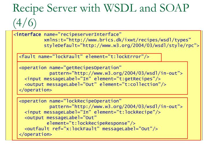 Recipe Server with WSDL and SOAP (4/6)