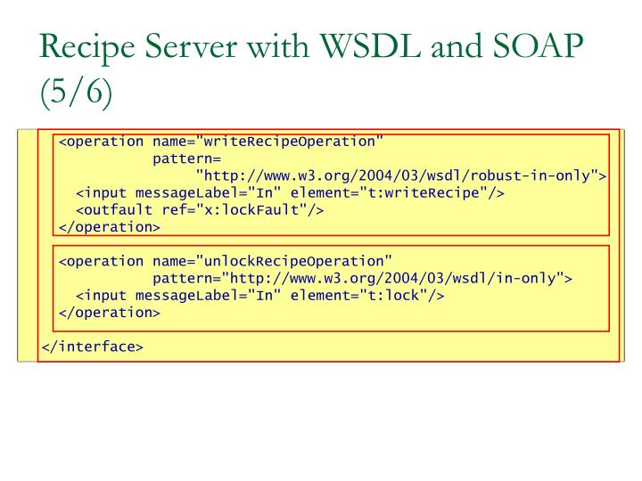 Recipe Server with WSDL and SOAP (5/6)