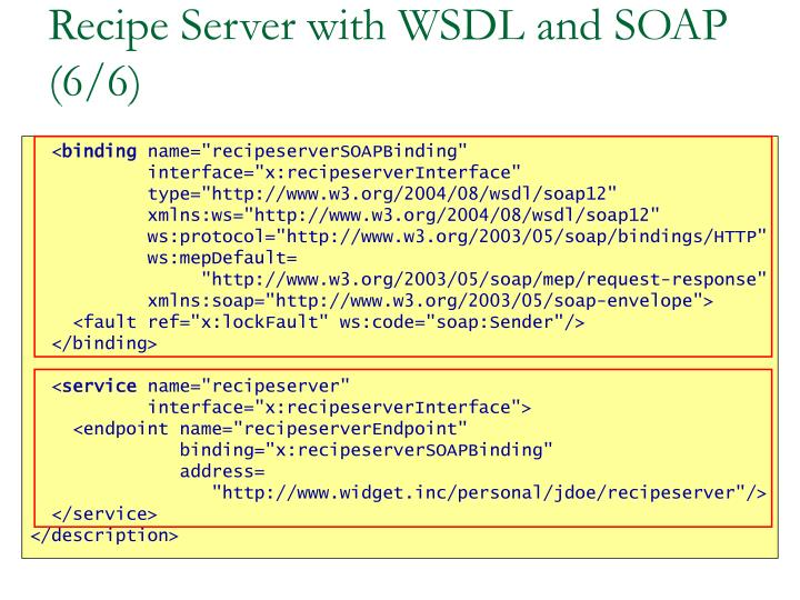 Recipe Server with WSDL and SOAP (6/6)