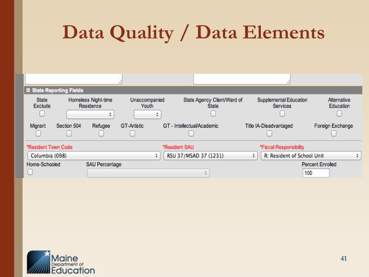 Data Quality / Data Elements
