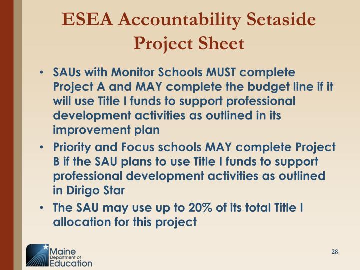 ESEA Accountability Setaside Project Sheet