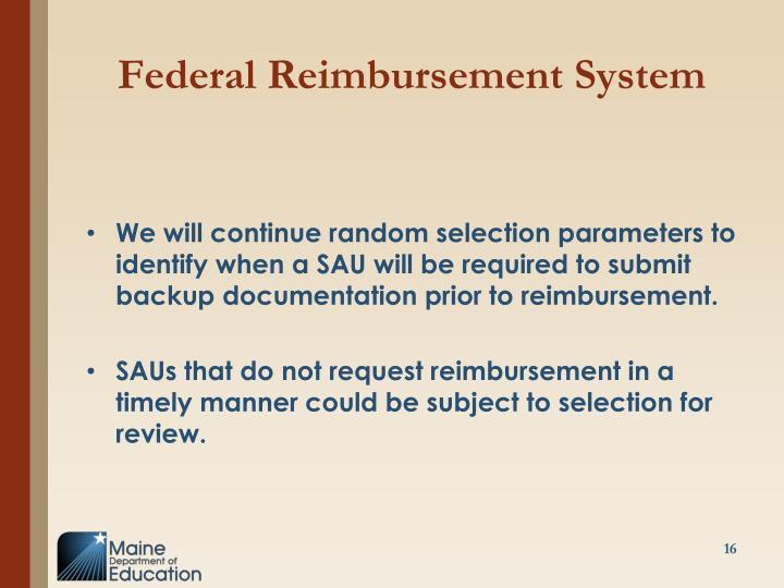 Federal Reimbursement System