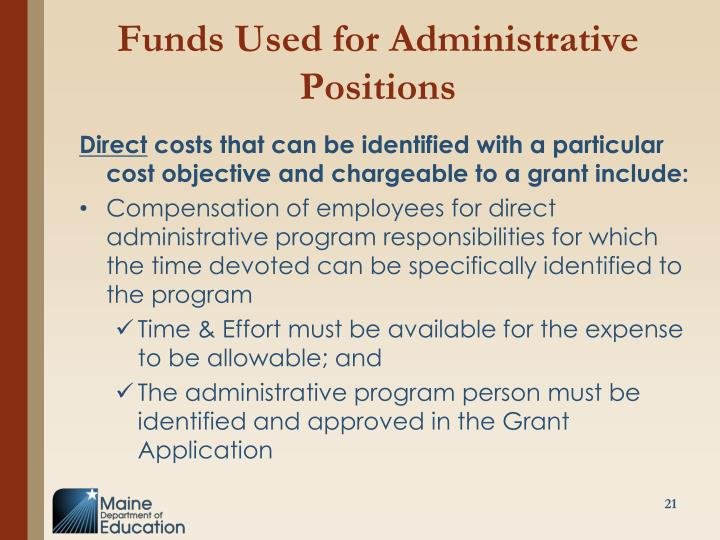 Funds Used for Administrative Positions