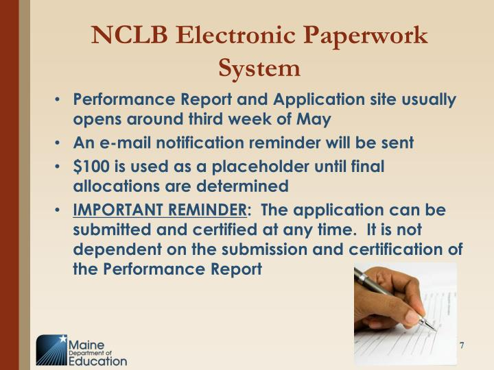 NCLB Electronic Paperwork System