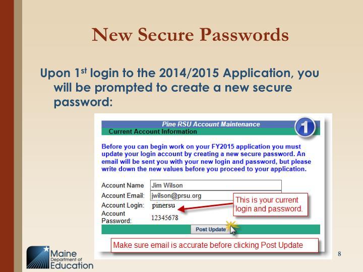 New Secure Passwords