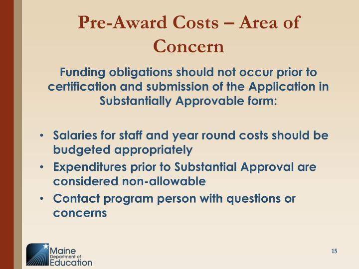 Pre-Award Costs – Area of Concern