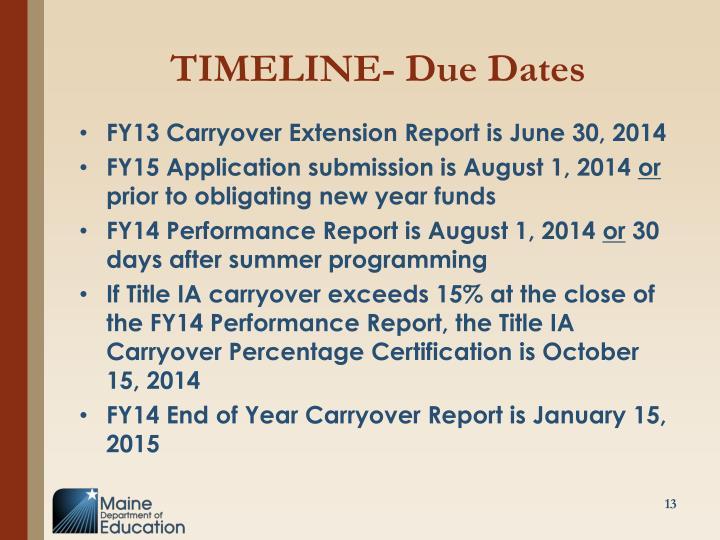 TIMELINE- Due Dates