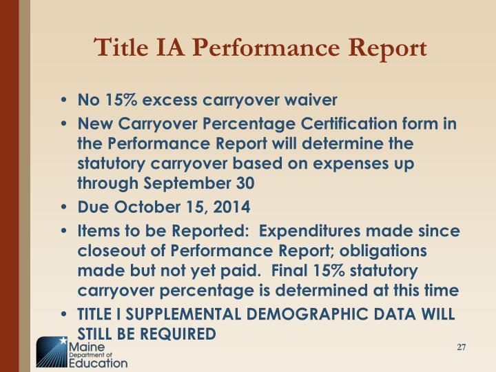 Title IA Performance Report