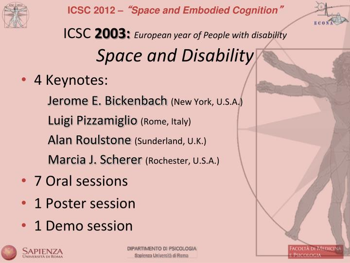 Icsc 2003 european year of people with disability space and disability