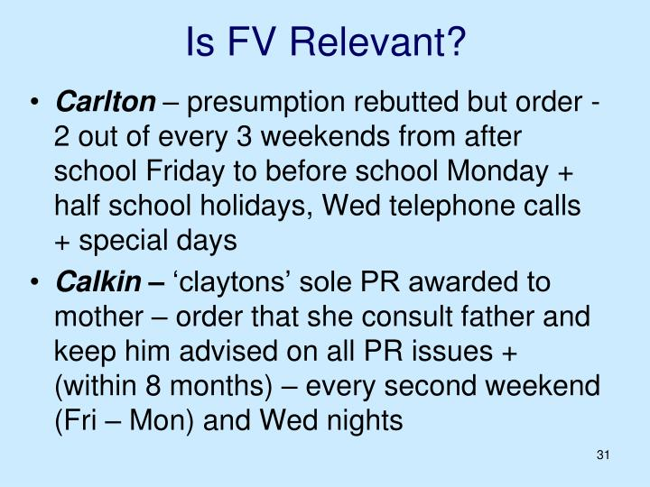 Is FV Relevant?