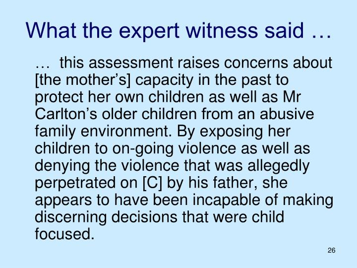 What the expert witness said …
