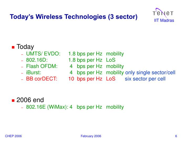 Today's Wireless Technologies (3 sector)