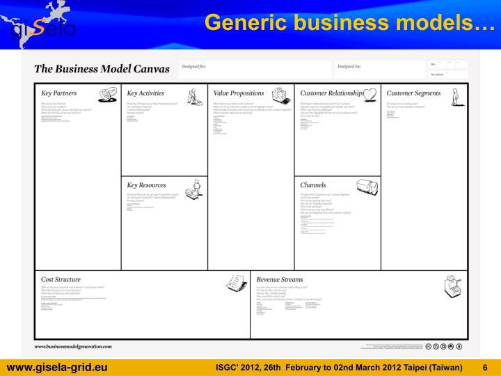Generic business models…