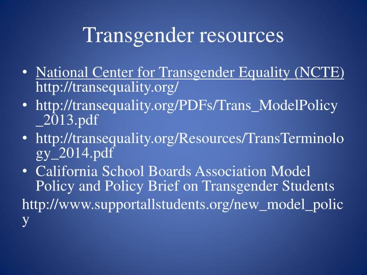 Resources for the transgendered agree