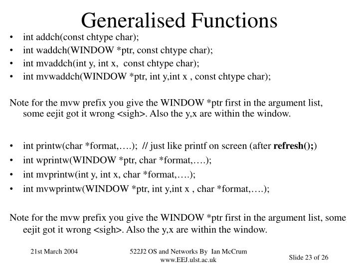 Generalised Functions
