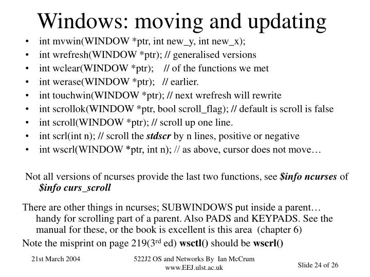 Windows: moving and updating