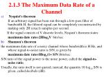 2 1 3 the maximum data rate of a channel