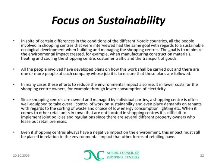 Focus on Sustainability
