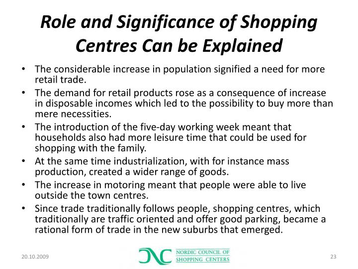 Role and Significance of Shopping Centres Can be Explained