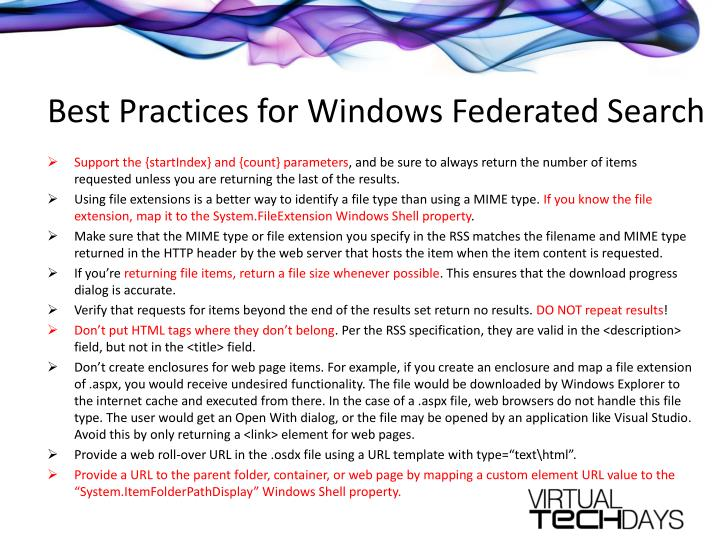 Best Practices for Windows Federated Search