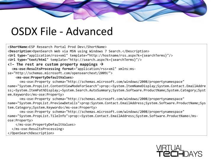 OSDX File - Advanced