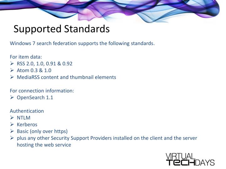 Supported Standards