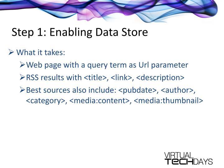 Step 1: Enabling Data Store