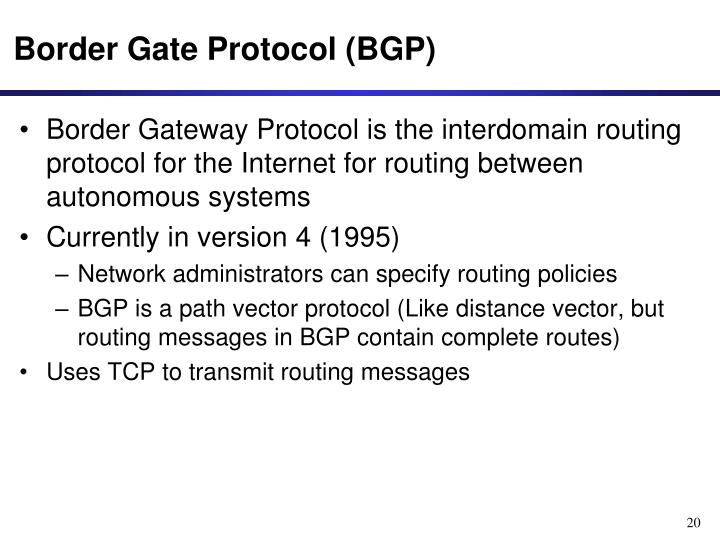 Border Gate Protocol (BGP)