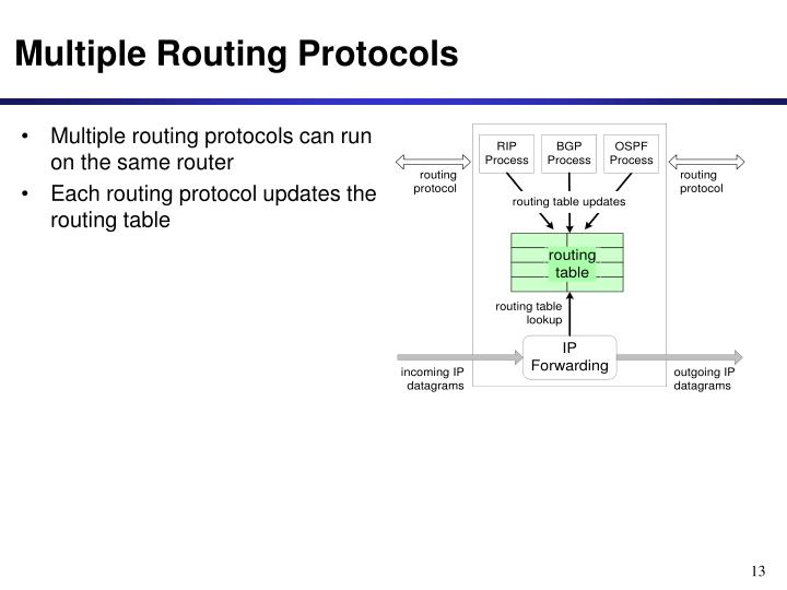 Multiple routing protocols can run on the same router