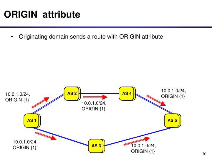 Originating domain sends a route with ORIGIN attribute
