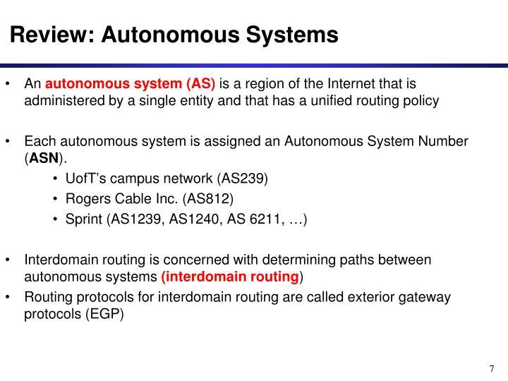 Review: Autonomous Systems