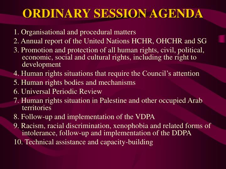 ORDINARY SESSION AGENDA