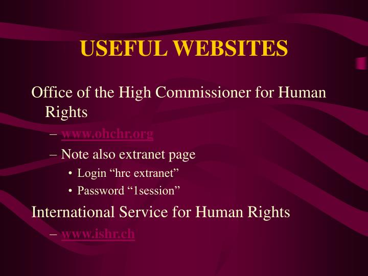 USEFUL WEBSITES