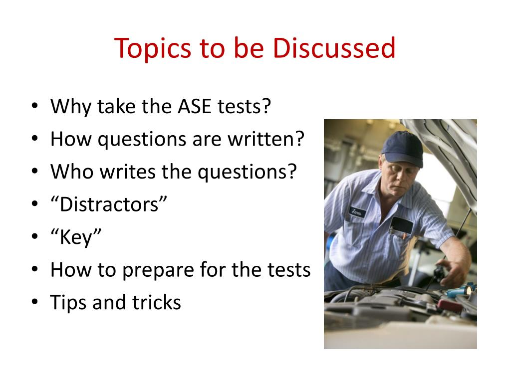 ase pass certification tests take topics discussed ppt powerpoint presentation